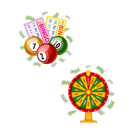 Lottery symbols - wheel of fortune, bingo game cards and round kegs, jackpot winning concept, vector illustration isolated on white background. Bingo board game cards and kegs, fortune wheel, money Illustration