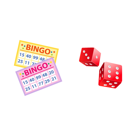 Lottery symbols - bingo game cards and two plastic dices, jackpot winning concept, vector illustration isolated on white background. Bingo board game cards and couple of dices Çizim