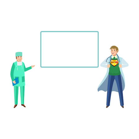 vector flat cartoon female doctor, nurse with clipboard, adult super doctor in medical clothing smiling, empty poster set. Isolated illustration on a white background Ilustração