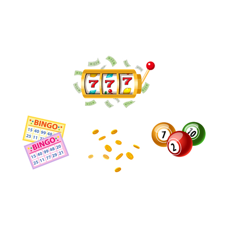 Lottery symbols - slot machine, bingo game cards and kegs, jackpot winning concept, vector illustration isolated on white background. Bingo board game cards and kegs, slot machine, winning combination 向量圖像