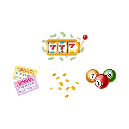 Lottery symbols - slot machine, bingo game cards and kegs, jackpot winning concept, vector illustration isolated on white background. Bingo board game cards and kegs, slot machine, winning combination Illustration