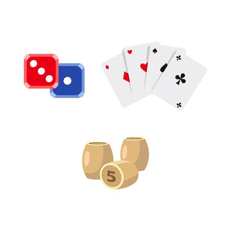 Vektor flache Cartoon Casino, Glücksspiel Symbole festgelegt. Lotto, Bingo Fässer oder Fässer, Würfel Würfel Poker Münzen vier Asse alle Anzüge, Chips. Isolierte Darstellung auf einem weißen Hintergrund. Standard-Bild - 87535654