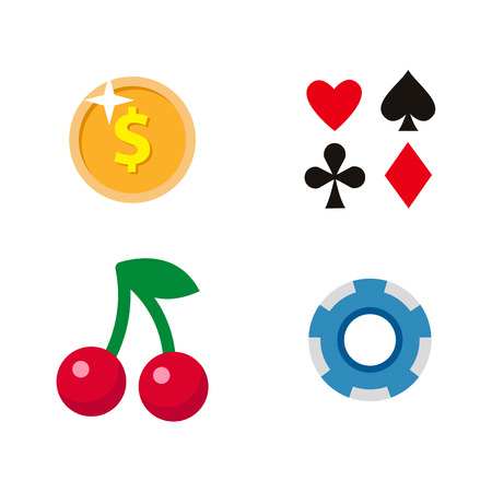 벡터 평면 만화 카지노, 도박 기호 집합입니다. 과일 체리 베리 슬롯 mashine 잭팟, 포커 카드 모두 정장, 포커 동전, 칩. 흰색 배경에 고립 된 그림입니다.