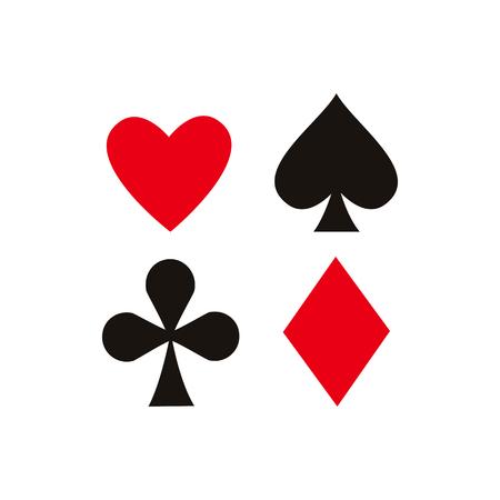 vector platte cartoon vier kaart pak set. Schaduw, diamanten club en hart. Geïsoleerde illustratie op een witte achtergrond. Symbool van gokken, casino en pokerspellen.