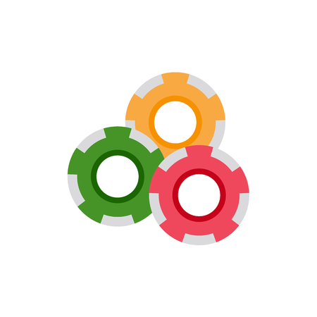 vector flat cartoon red yellow green casino chips front side view. isolated illustration on a white background. Poker, gambling risk and opportunity symbol. Stock Vector - 87535660