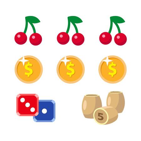 Vector casino de dibujos animados plana, conjunto de símbolos de juego. Jackpot de frutas y bayas, bote de mashine, lotería, barriles de bingo o barriles, cubos de dados, monedas de póquer, fichas. Ilustración aislada en un fondo blanco. Foto de archivo - 87535663