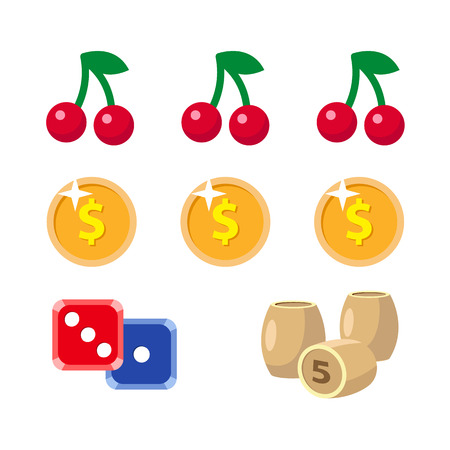 vector flat cartoon casino, gambling symbols set. Fruit cherry berry slot mashine jackpot, Lotto, bingo barrels or kegs, dice cubes poker coins, chips. Isolated illustration on a white background.