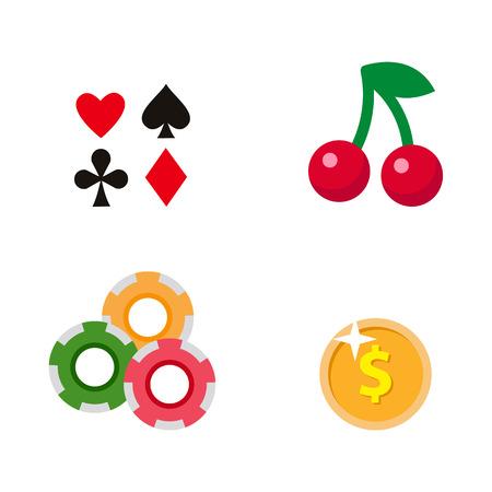 Vector casino de dibujos animados plana, conjunto de símbolos de juego. Fruit Cherry Berry tragamonedas mashine jackpot, cartas de poker todos los palos, monedas de póker, fichas. Ilustración aislada en un fondo blanco. Foto de archivo - 87535664