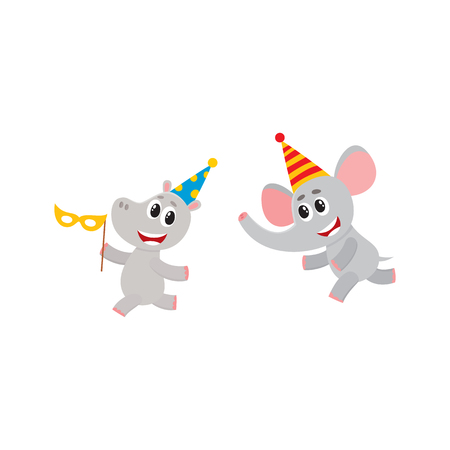 vector flat cartoon cheerful elephant, hippo kid character having fun running wearing party hat happily smiling. isolated illustration on a white background. Animals party concept