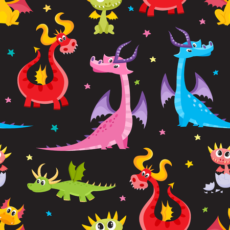 Seamless pattern, backdrop design with funny cartoon dragon characters, vector illustration on black background. Funny comic, cartoon style dragon characters, seamless pattern on black background Stock Illustratie