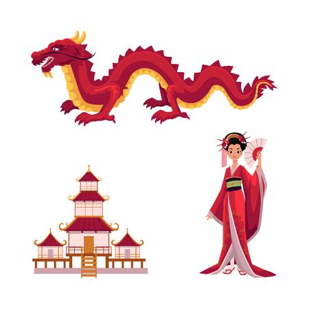 아시아 일본, 중국 동양 기호 개념 집합입니다. 날개가없는 레드 드래곤, 사원을 짓는 전통적인 탑, 접이식 팬이있는 게이샤 여자. 흰색 배경에 고립 된