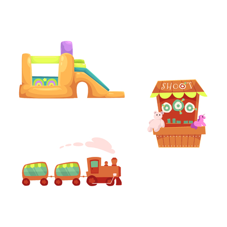 vector flat amusement park objects icon set. Shooting gallery with beara, unicorn toys - awards, inflatable bouncy castle and kid steam train. Isolated illustration on a white background.
