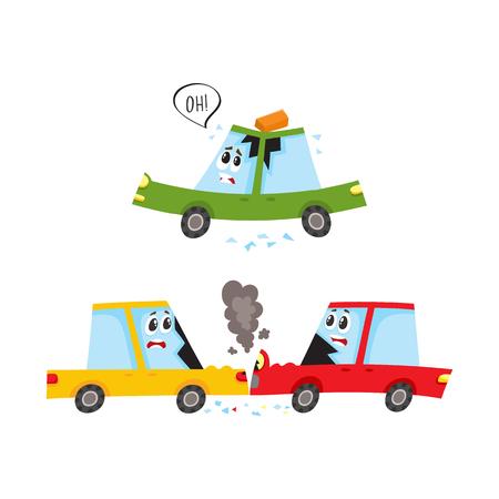 Personnages de wagon plat de vecteur avec crash de visage, accident set. Collision frontale, les deux véhicules ont des vitres brisées de la fumée du capot, des briques tombées sur le toit de la voiture. Illustration isolée sur fond blanc Banque d'images - 87743981