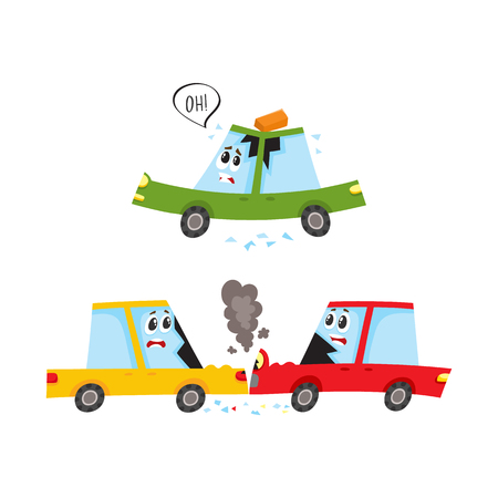 vector flat car characters with face crash, accident set. Head-on collision, both vehicle have broken glasses smoke from hood, brick fallen to auto s roof. Isolated illustration on a white background