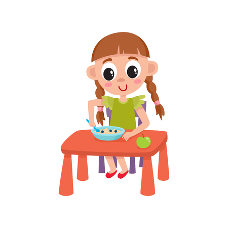 vector flat cartoon girl kid eating apple and porridge sitting at baby table from plate, smiling. isolated illustration on a white background. Daily routine concept Ilustração