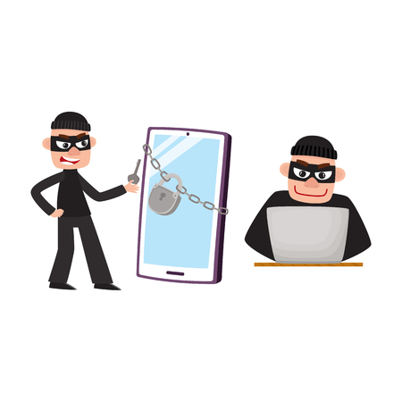 Hacker in mask breaking protection of laptop computer and phone, smartphone device, cartoon vector illustration isolated on white background. Cartoon hacker at work, hacking laptop and smartphone Illustration