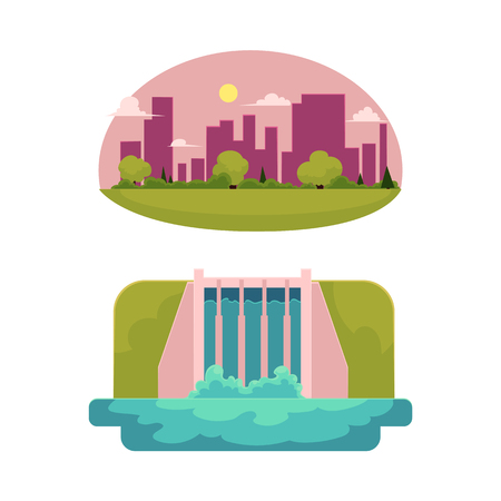 vector flat cartoon hydroelectric dam power station, green city concept set. Water power plant and factory. Green ecological renewable electricity resource. Isolated illustration on a white background Иллюстрация