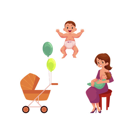 vector flat cartoon adult cute woman girl in dress sitting at chair with infant toddler on her knees, baby stroller and newborn kid set. Isolated illustration on a white background. Illustration