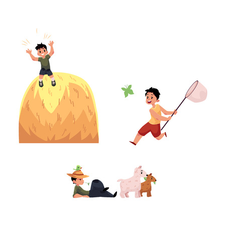 vector flat children at countryside scenes set. boy sitting at meadow on pasture, child having fun at haystack, boy catching butterflies with net. Isolated illustration on a white background.