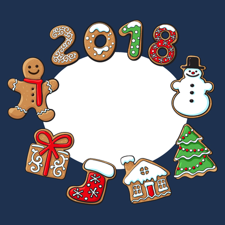 Round frame of homemade gingerbread cookies - Christmas elements and 2018 numbers, sketch vector illustration isolated on white background. Christmas gingerbread cookies forming round frame Ilustrace