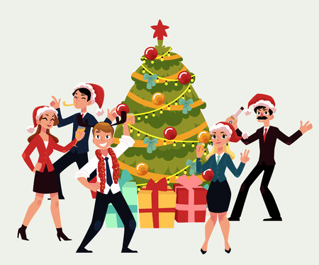Happy people having corporate Xmas party, dancing around Christmas tree, cartoon vector illustration isolated on white background. Corporate Christmas party - Xmas tree, people in Santa Claus hats Ilustração