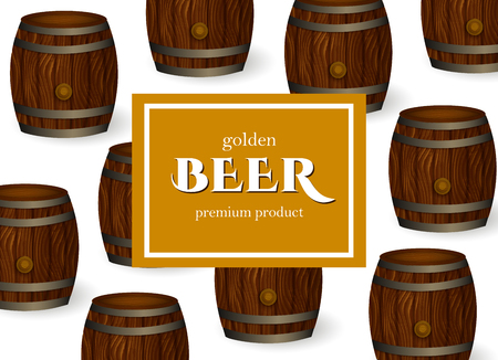 vector poster, banner or placard with beer oak wooden barrels or kegs pattern template. Ready for your design mockup. Isolated illustration on a white background. Illustration