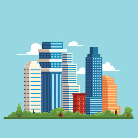 vector flat cartoon cityscape with different buildings. Skyscrapers, office centers shopping mall and city apartments houses. Illustration on light blue background