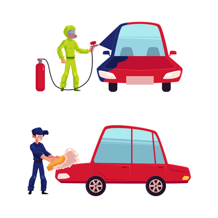 Auto mechanic, car service worker, technician painting and washing a car, cartoon vector illustration isolated on white background. Auto mechanic washing a car and painting it with airbrush Illustration