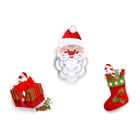 Paper cut Santa Claus, Christmas stocking and present box, decoration elements, flat vector illustration isolated on white background. Flat style Santa Claus, Christmas stocking and present box Illustration