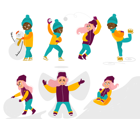 Set of kids, children, girls doing winter activities, having fun, cartoon vector illustration isolated on white background. Kids, children, girls play snowballs, make snowman, ice skate, ride a sled