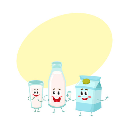 Funny milk characters - bottle, glass, carton box with smiling human faces, cartoon vector illustration with space for text. Cute milk bottle, glass and carton box characters, dairy products
