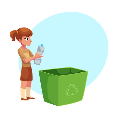 Girl holding trash bin with plastic bottles, garbage recycling concept, cartoon vector illustration with space for text. Full length portrait of girl throwing plastic bottles into trash bin Ilustrace