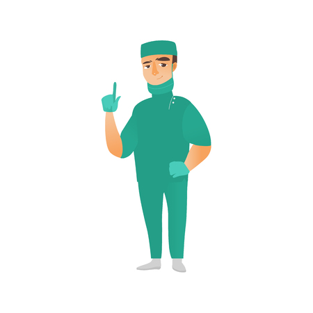 surgical glove: vector flat cartoon adult male doctor, surgeon in green medical uniform - mask gloves cap, pointing something out smiling. Isolated illustration on a white background. Illustration