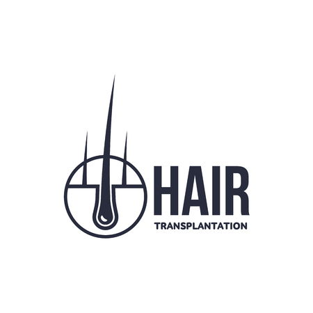 Hair follicle in hair bulb with human skin, dermis. Medical folicle transplantation company , brand icon pictogram design. Vector flat silhouette illustration isolated on a white background.