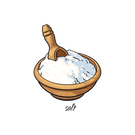 Bowl of sea salt with wooden shovel with caption, sketch style vector illustration isolated on white background. Hand drawn bowl of sea salt, vector illustration