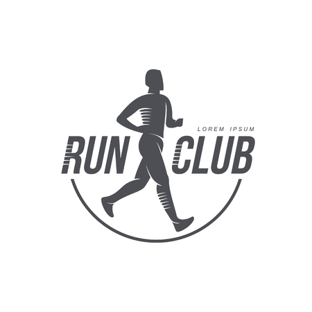 Sportive man jogging, running marathon brand, logo design icon pictrogram silhouette. Male adult character illustration with run club inscription. Isolated flat illustration on a white background.
