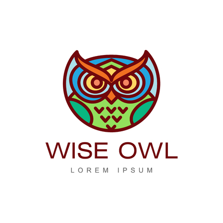 wise hand drawn colored wise owl head closeup . brand logo stylized design silhouette pictogram. Line icon bird isolated illustration on a white background.