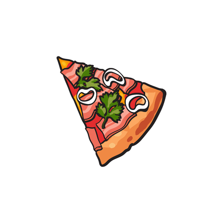 Vector flat pizza slice with salad parsley onion and ham. Fast food cartoon isolated illustration on a white background. Italian food icon. Restaurant, cafes advertising object