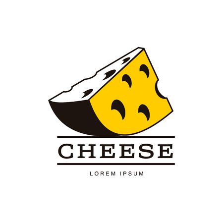 Swiss, holland maasdam yellow piece of porous cheese with holes brand, logo product design icon pictrogram silhouette. Isolated flat illustration on a white background.