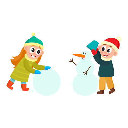vector girl making big snowball, boy making snowman smiling set. Flat cartoon illustration isolated on a white background. Kids characters having fun outdoors. Winter children activity concept