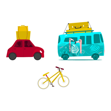 Car trip, surf van with baggage on roof, touristic mountain bike, flat vector illustration isolated on white background. Car trip, surf van with luggage, suitcases on top, bike travelling Ilustracja