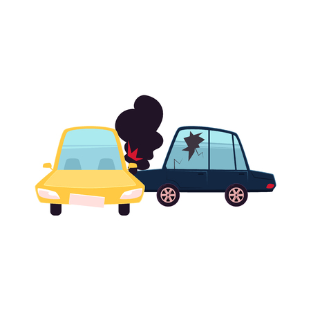 vector flat cartoon car accident. Blue vehicle crashed into yellow one and got fire and black smoke from hood and cracked side window glass. Isolated illustration on a white background. Illustration
