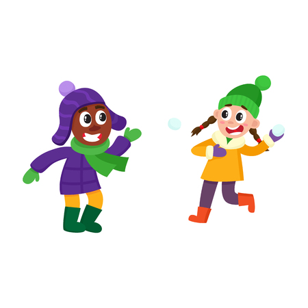 vector boy and girl having fun with snow outdoors. Flat cartoon isolated illustration on a white background. Kid plays with snowball smiling. Winter children activity concept