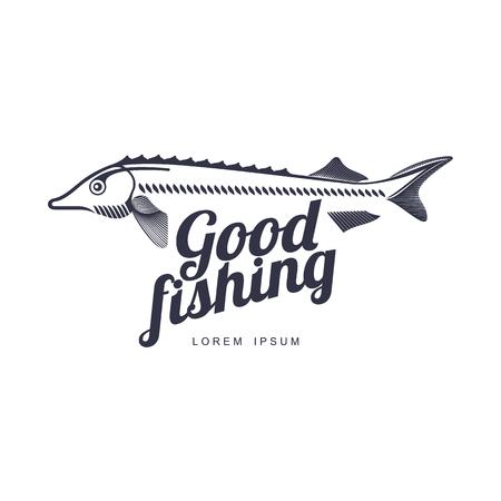 gestileerde steur vis, goed vissen belettering inscriptie pictogram pictogram. Merk, logo-ontwerp. Vector platte silhouet illustratie geïsoleerd op een witte achtergrond.