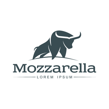 Buffalo mozzarella italian cheese brand, logo design icon pictrogram silhouette. Horned bull illustration with mozzarela inscription. Isolated flat illustration on a white background. Illustration