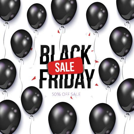 黒い金曜日販売バナー、風船でチラシのデザイン、ベクトル白い背景のイラスト。黒い金曜日販売バナー、チラシ、光沢のある風船でポスター テン  イラスト・ベクター素材