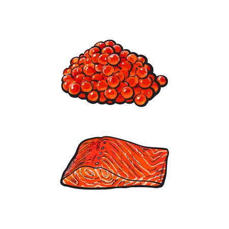 vector sketch sea salmon fish meat fillet steak without skin from side view and caviar set. Isolated illustration on a white background. Seafood delicacy, restaurant menu decoration Ilustração