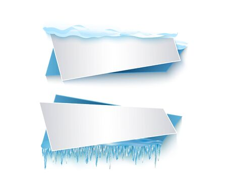 vector cartoon realistic white, blue winter empty banner templates wit snow caps, icicles set. Illustration on grey background with space for your text. Christmas, new year holidays design element Illustration