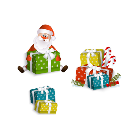 vector flat santa claus sitting with paper christmas square box presents with ribbon bow, mistletoe leaves and berry and christmas lollipop and candy. Isolated illustration on a white background. Illustration