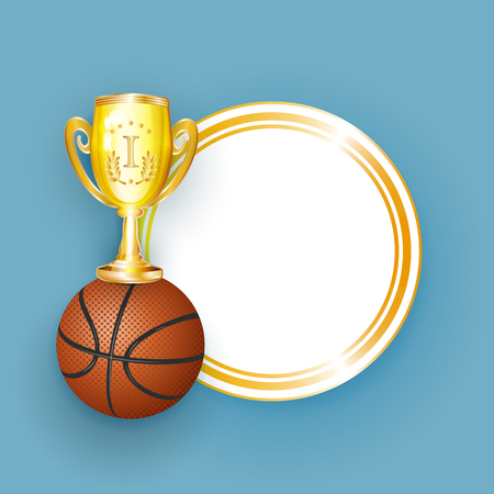 vector flat basketball ball, golden cup winner trophy sport equipment object banner, poster with gold circle frame with free space for your text. Isolated illustration on a white background